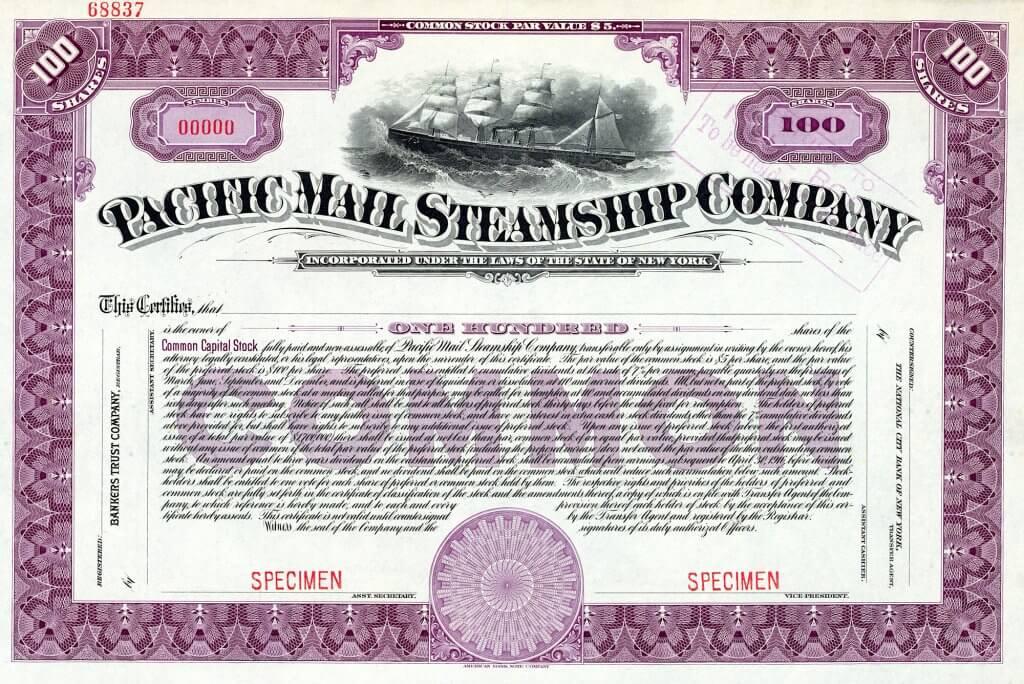 """Pacific Mail Steamship Company, historische Aktie von 1914. Musterstück aus dem aufgelösten Archiv der American Bank Note Company. Meisterhafte Stahlstichvignette mit Darstellung des berühmten Flaggschiffes der Gesellschaft, """"""""SS City of Peking"""", 1874 gebaut, für lange Zeit das größte jemals in USA gebaute Schiff überhaupt."""