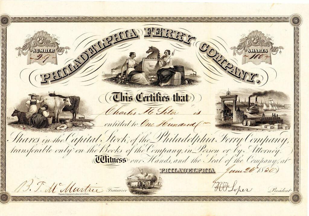 """Philadelphia Ferry Company, historische Aktie von 1850. Um 1800 eröffnete der geschäftstüchtige Farmer Abraham Browning die als """"Market Street Ferry"""" bekannt gewordene Fährverbindung zwischen der Market Street in Camden, N.J. und der Market Street in Philadelphia, Pa. Die Familie betrieb das Geschäft ein halbes Jahrhundert lang als Privatfirma, erst 1850 wurde es in eine Aktiengesellschaft umgewandelt."""