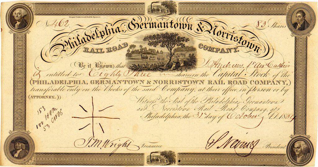 Philadelphia, Germantown & Norristown Railroad, historische Aktie von 1834. Die 1831 konzessionierte Gesellschaft betrieb die allererste Passagiereisenbahn von Philadelphia. Bahnbetrieb ab 1832 auf der Strecke von der 9th und Green Street nach Germantown (zuerst als Pferdebahn)