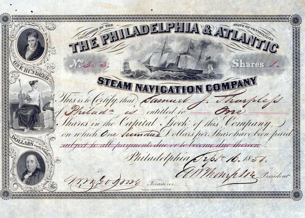 Philadelphia and Atlantic Steam Navigation Company, historische Aktie von 1851. Die 1849 gegründete Reederei beförderte hauptsächlich die Goldsucher auf deren Reise nach Kalifornien sowie im Regierungsauftrag die Post von Philadelphia nach Panama.