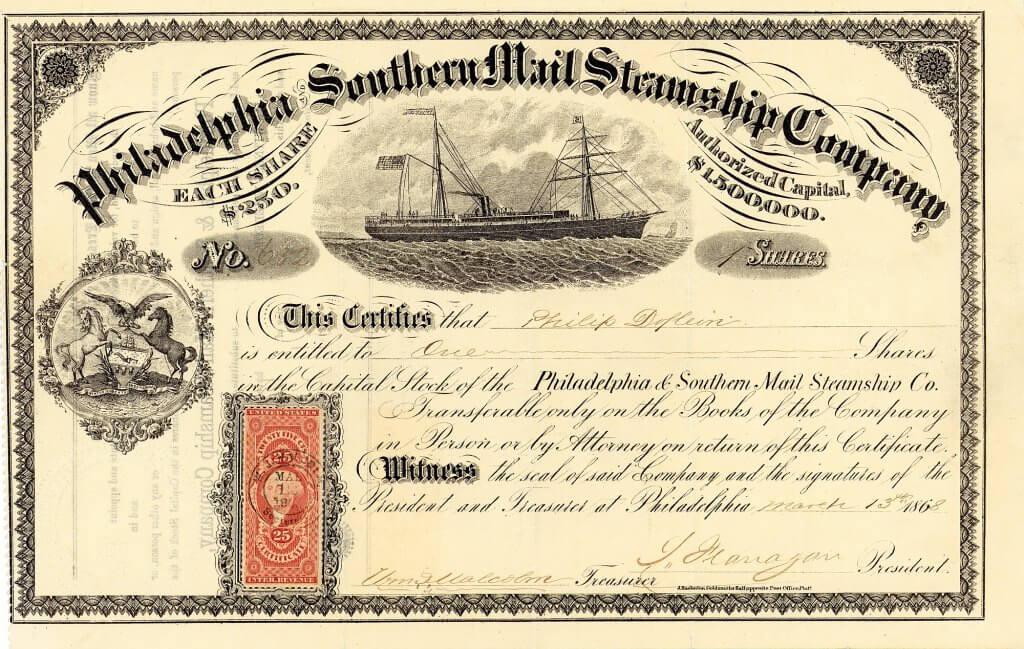 """Philadelphia and Southern Mail Steamship Company, historische Aktie von 1868. Gründung 1866 durch eine Investorengruppe aus Philadelphia. Für Fracht- und Passagierdienste hauptsächlich zwischen Philadelphia und Südamerika wurden zwei Dampfsegler in Dienst gestellt: Die """"Pioneer"""" und die """"Tonawanda""""."""