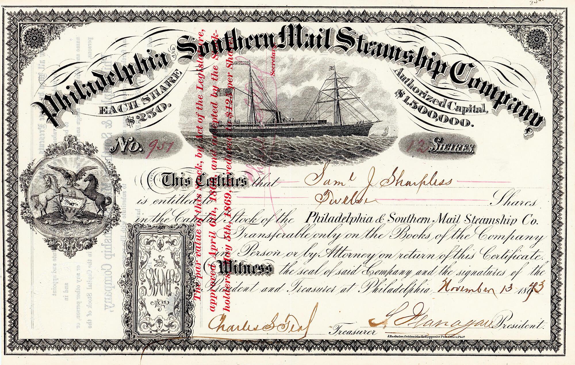 Philadelphia and Southern Mail Steamship Company, historische Aktie von 1873. Gründung im März 1866 durch eine Investorengruppe aus Philadelphia mit einem Kapital von 600.000 $ (eingeteilt in Aktien mit dem ganz und gar ungewöhnlichen Nennwert 250 $, eine Aufstockung bis 1,5 Millionen $ erlaubten die Statuten).