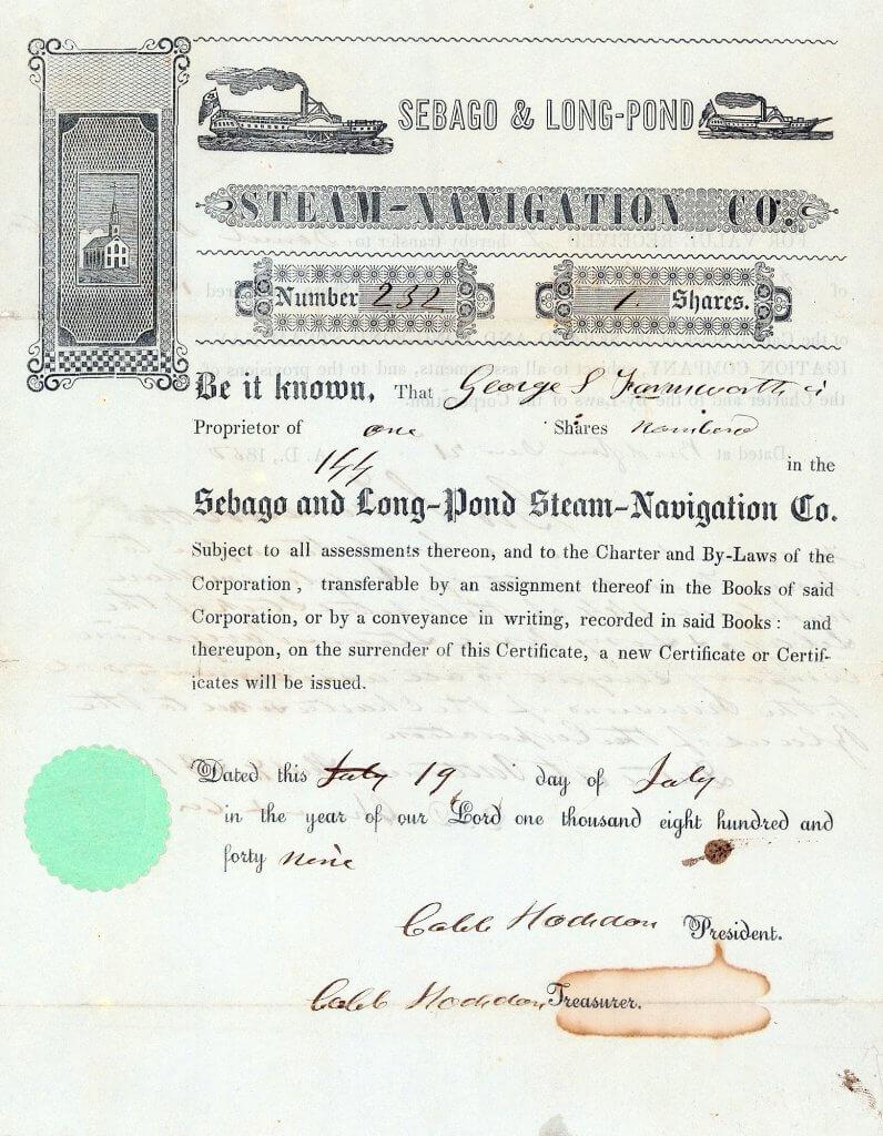 """Sebago and Long-Pond Steam-Navigation Company, historische Aktie von 1849. 1847 baute die ein Jahr vorher gegründete Sebago and Long-Pond Steam-Navigation Company das erste Dampfschiff (""""Fawn""""). Es hatte einen sehr geringen Tiefgang und war damit für die nicht sehr tiefen Wasserwege geeignet."""