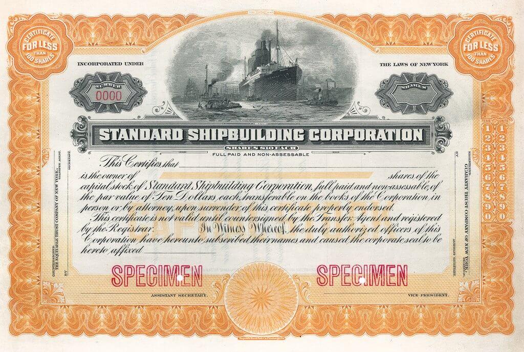 Standard Shipbuilding Corp., historische Aktie von 1916 (Specimen). Hochwertiger Stahlstich mit grandioser Vignette mit einem von Schleppern gezogenen Ozeanriesen, im Hintergrund Segelschiffe und Fabriken. Die Gesellschaft mit zwei großen Werften auf Staten Island war nach Beginn des 1. Weltkrieges bereits der dritte große Schiffbauer, der in den USA gegründet wurde.