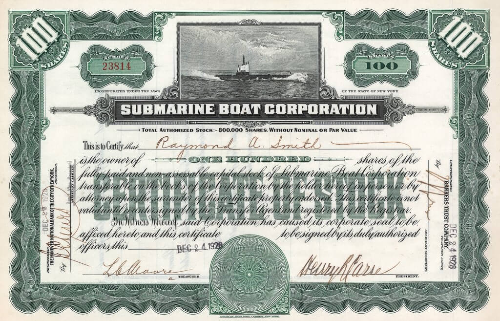 "Submarine Boat Corporation. Gegründet 1899 durch John Holland (den großen Mann im U-Boot-Bau der USA) als Electric Boat Company. Nach Holland's Tod 1915 als ""Submarine Boat Corporation"" reorganisiert."