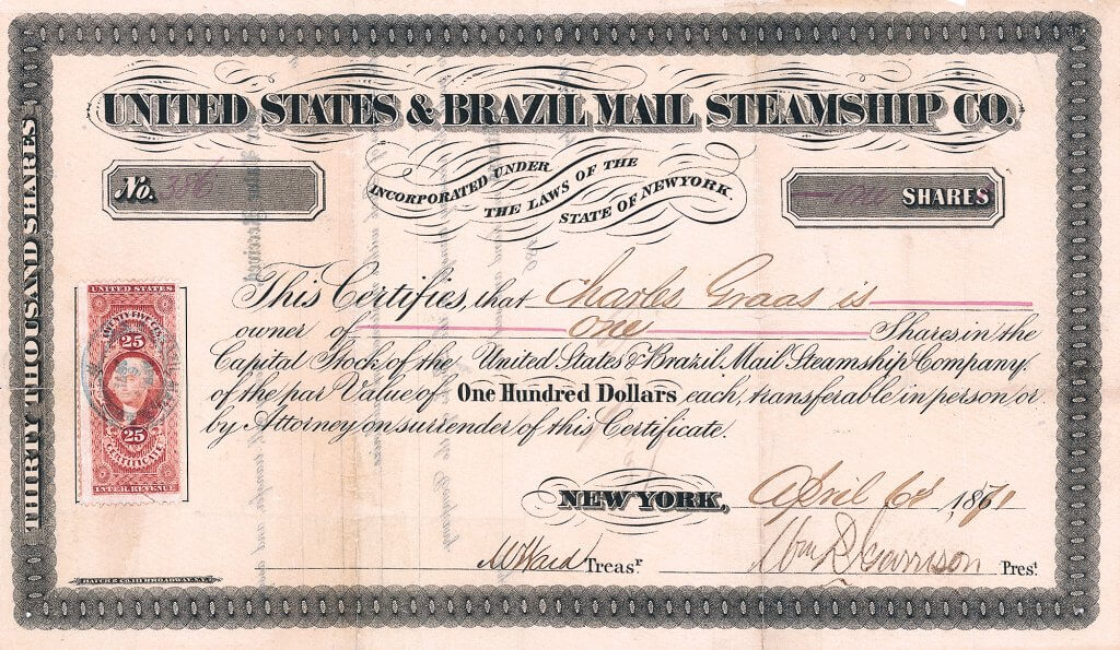 United States and Brazil Mail Steamship Company, historische Aktie von 1871, original signiert von William R. Garrison als Präsident, dem Sohn von Cornelius K. Garrison, einem der größten Reedereibesitzer Amerikas, Mitbegründer der Vanderbilt'schen Accessory Transit Company.